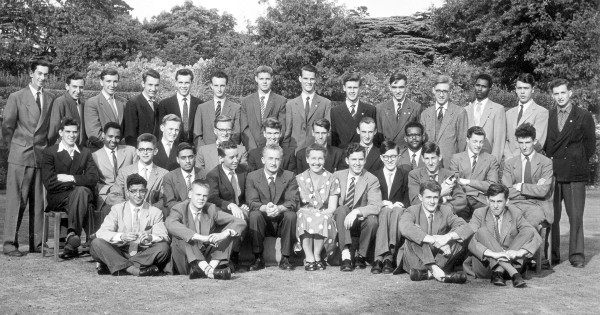 Marconi hostel Brooklands 1960 From left back row, sixth Peter Whitnall; seventh Quinton Bullard; ninth Brian Bolton. Second row: first John Everett. Third row:  seventh Martin Bates; eighth David Whiting. Front row: third Ron Farrell