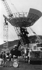The last petals going up to complete the dish in 1966. In the picture are Don Reed; David Oliver; Dick Muir.