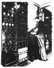 Pictures by Wireless A W Cole operating the scanning equipment ca 1935