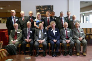 Back row L to R: Don Mott, Malcolm Cozens, Ken Earney, Claire Lucas, Dave Roscoe, David Frost, Barry Powell, Chris Gardiner, Jimmy Leadbitter. Front Row L to R: Eric Peachey (vice chairman), John Shrigley (honoured guest), Tom Mayer, Val Cleare (president), Robbie Robertson (patron), Peter Turrall (chairman). Not present: Alan Simmons, Bernard Hazelton