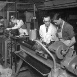 This photo, showing Bob Thrift with a trainee in the Apprentice Training Centre, accompanied the article in the 2006 newsletter by Ron Hurrell describing his experiences over 47 years in the company's employ