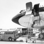 Dummy shot of DW putting an AD560 unit into a Boeing 707.  In reality the unit was accessed from the freight bay on the starboard side under the galley.