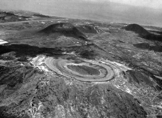 Ascension Island, South Atlantic. Showing the desolate  terrain of the satellite communications site.